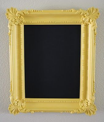 YAY for chalkboards! I have this same exact frame! Use sheet metal to make it magnetic (I guess magnetic paint and chalk board paint cancel each other out? at least the Krylon brand anyway)