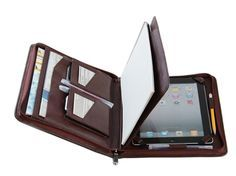iPad Portfolio Case with Pockets Leather iPad Carrying Case in Full Grain Leather