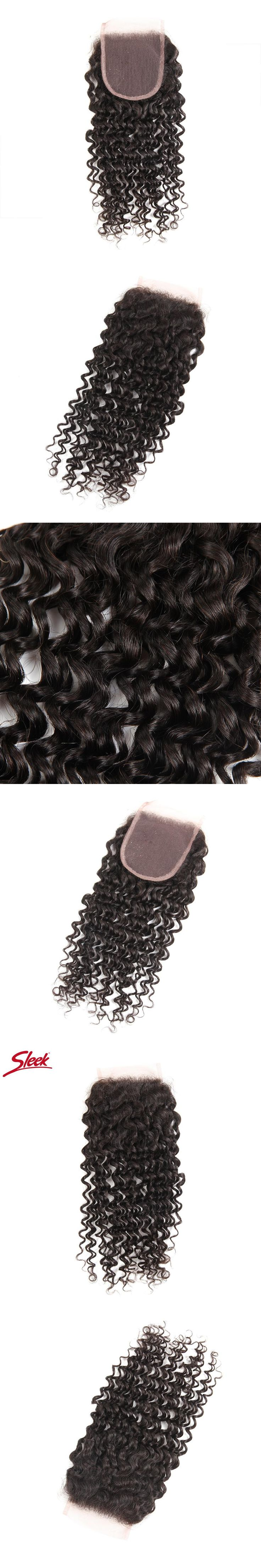 SLEEK HAIR 4*4 Free Part Closure Brazilian Curly Hair Weave 8-18 Inches Remy Hair 130% Density Swiss Lace Closure