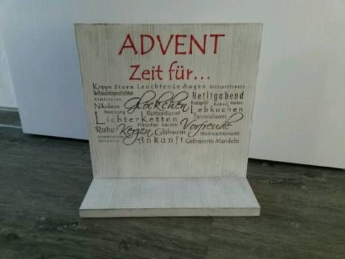 Holzschild Deko Schild Advent rot/grün hochkant/quer shabby chic  Hochkant BHT: ca. 20*35*10cm...,Holzschild Deko Schild Advent rot/grün hochkant/quer shabby chic in Hessen - Eschenburg