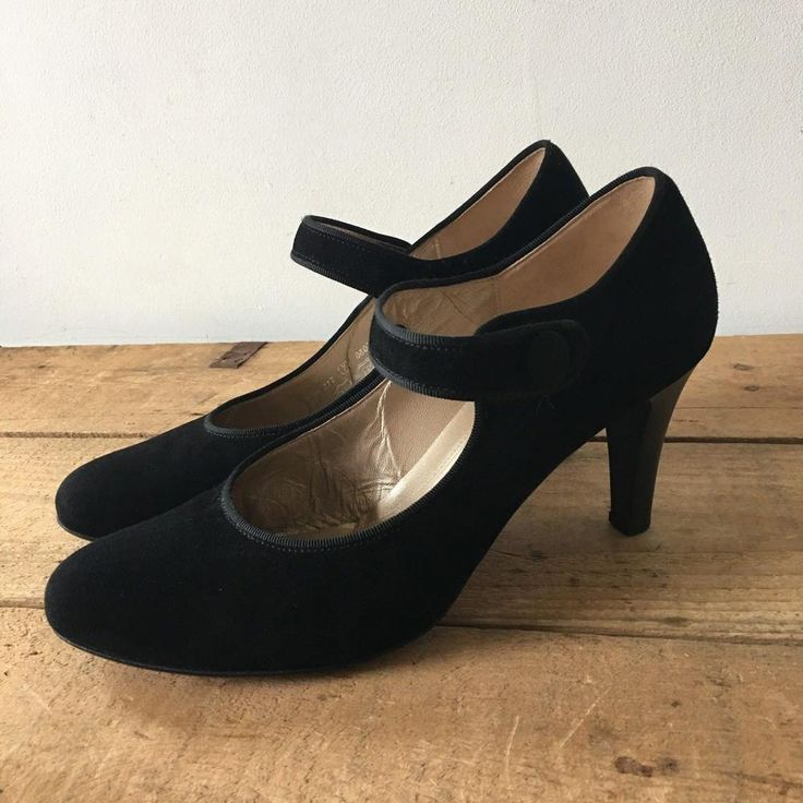 Uk size 7 womens gabor black suede mary jane heels