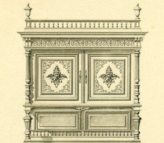 Antique sideboard Henri II Blueprints and by sofrenchvintage