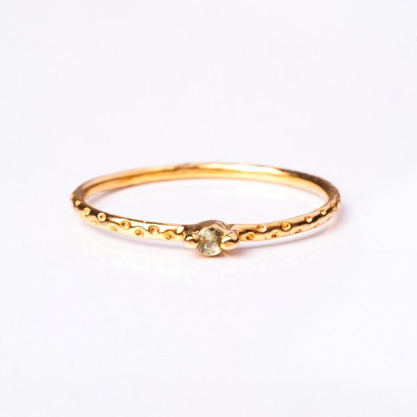 Tiniest Gem Confetti Ring - Light Green Sapphire | Jane Heng Jewellery