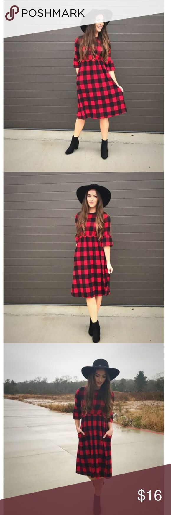 Plaid dress This is a very soft, red and black plaid dress from an online boutique. Size small and new with tags flamingo urban Dresses