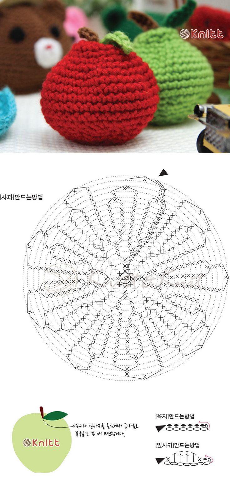 니뜨(knitt) [(무료도안) 사과 수세미]