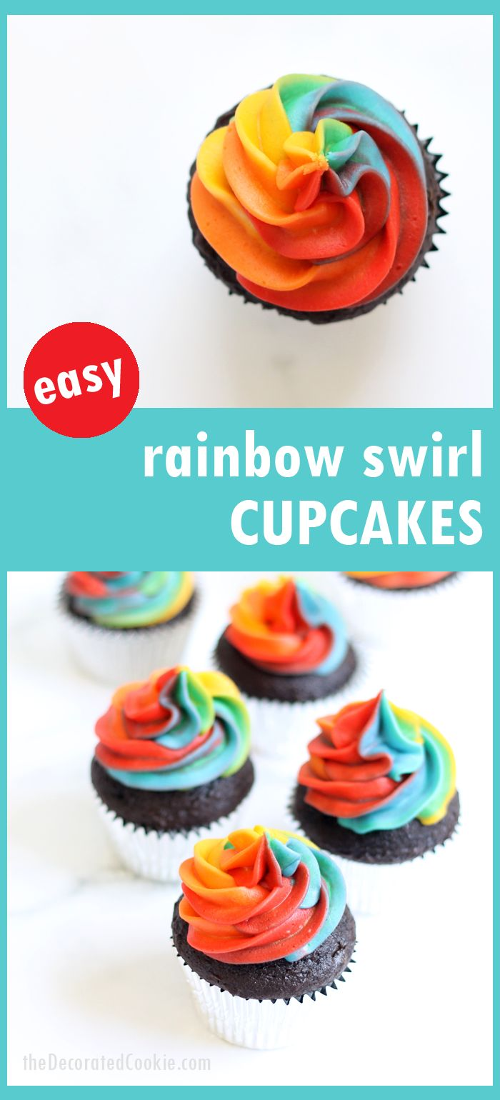 A step-by-step tutorial, with video, how to decorate rainbow swirl cupcakes with buttercream frosting. Easy, fun dessert for a rainbow or unicorn party. #rainbowfood #unicornfood #RainbowParty #cupcakes #buttercreamfrosting #RainbowSwirl