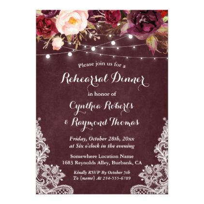 #floral - #Marsala Floral String Lights Lace Rehearsal Dinner Card