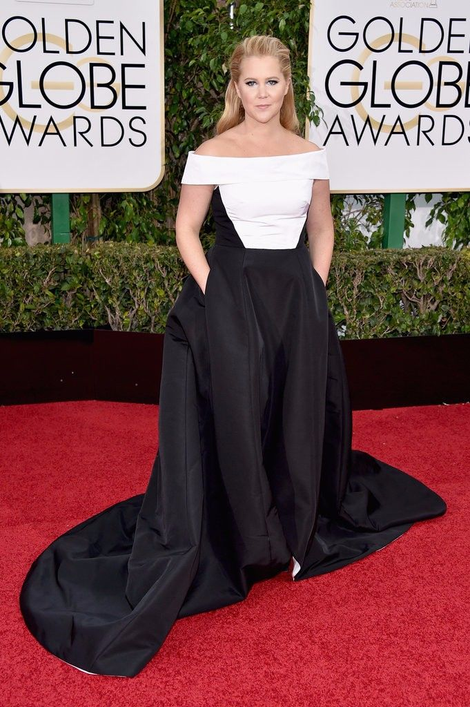 Vintage White And Black Amy Schumer Celebrity Dress With Pocket At 73rd Annual Golden Globe Awards 2016 Ball Gowns Boat Neck