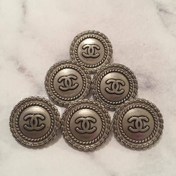 Chanel Buttons  Set of 6 18mm Small Vintage Silver/Gunmetal