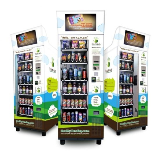 H.U.M.A.N. #Healthy #Vending machines feature exclusively healthier, natural and/or organic food, drinks, supplements and other consumer items approved by H.U.M.A.N.