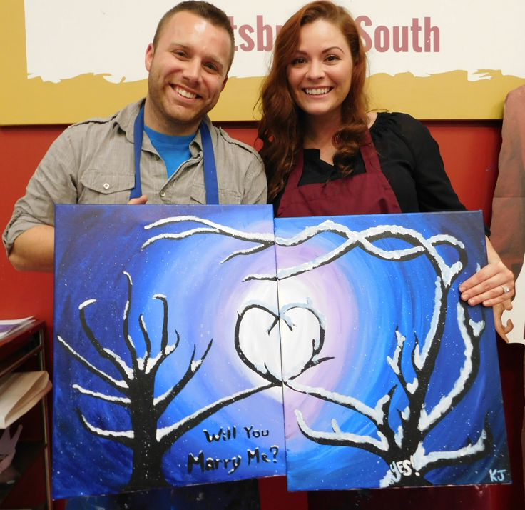 Painting with a Twist -  Pittsburgh (South), PA had their first wedding proposal!  Congratulations!
