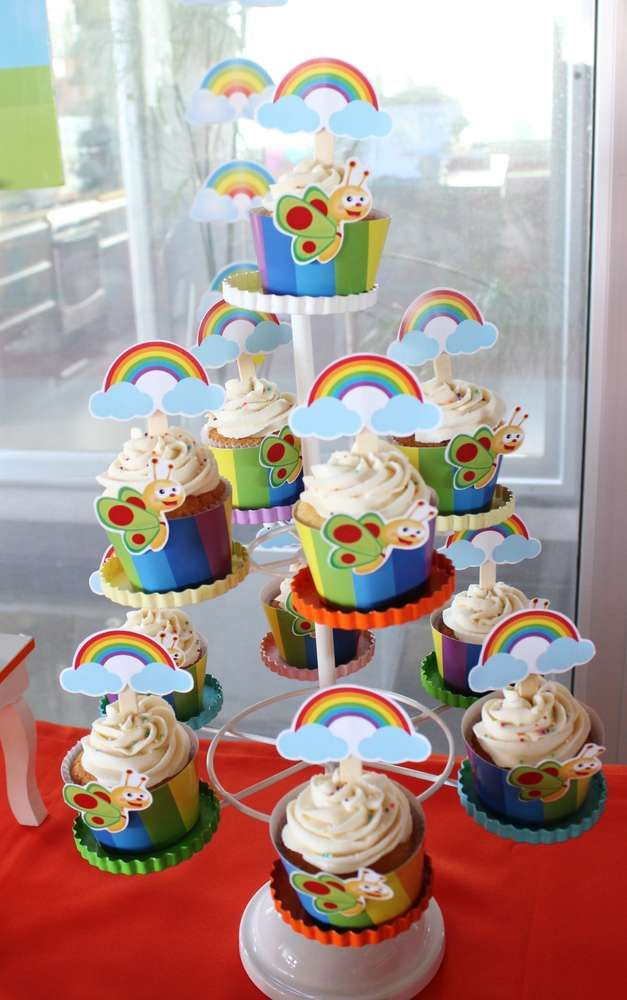 Baby TV birthday party cupcakes! See more party planning ideas at CatchMyParty.com!