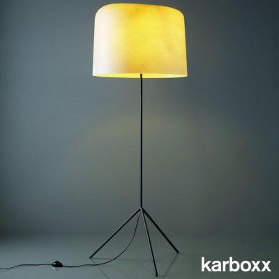 Ola Floor by Karboxx is a floor lamp with shade made of fiberglass and anthracite painted metal base.