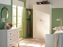 love the green walls, white furniture, the baskets and the mirror. Bedroom Furniture - Beds, Mattresses & Inspiration - IKEA