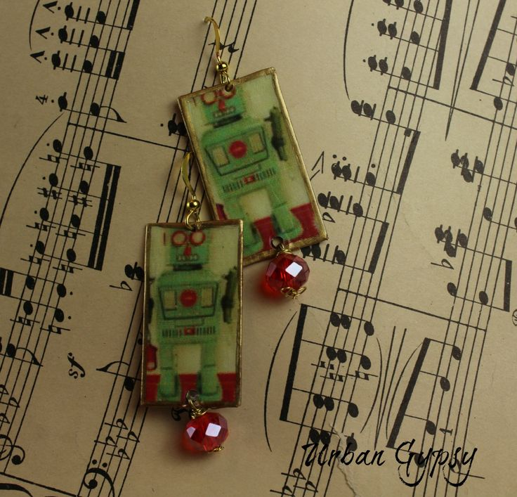 Vintage Image Robot Dangle Bohemian Gypsy Hipster Image Vintage Glass Bead Robot Love Wire Wrapped Earring by UrbanGypsyIndy on Etsy