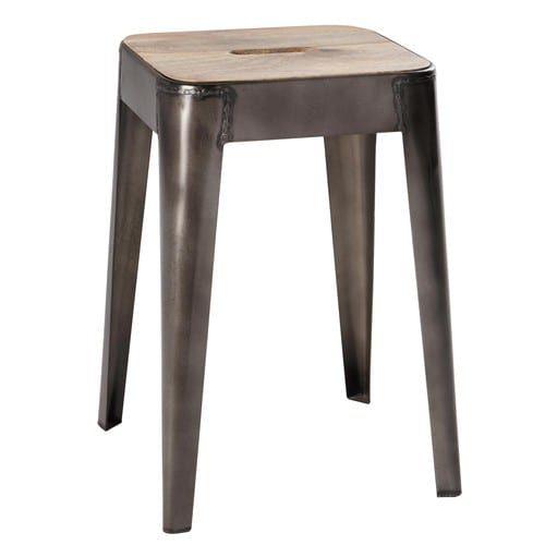 Mango wood and metal stool