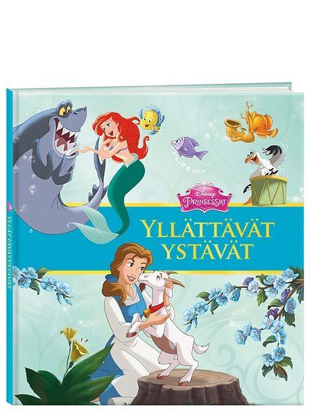 Prinsessat, Yllättävät ystävät -satukirjan kahdessa kertomuksessa prinsessat saavat huomata, ettei ensivaikutelmaan kannata aina luottaa. Ariel kohtaa tutkimusretkellään musiikkia rakastavan hain, mutta mitä instrumenttia lyhyteväinen kala osaisi soittaa? Bellen kotikylässä taas pyydystetään hurjaa petoa, joka repii pyykit naruilta ja kähveltää leipurin piirakat – kuka mahtaa olla syyllinen?