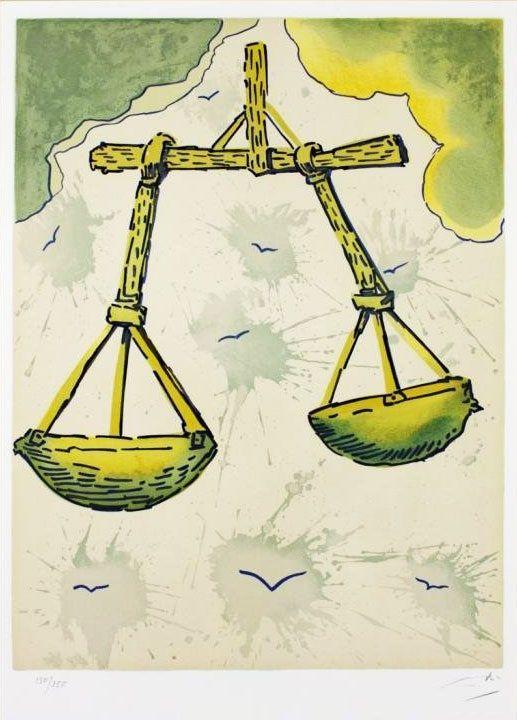 """""""Litografias de Salvador Dalí que ilustram os 12 signos do zodíaco. Elas foram criadas em 1967, como uma série limitada de 250 cópias de cada. Acima, o signo de Libra."""""""