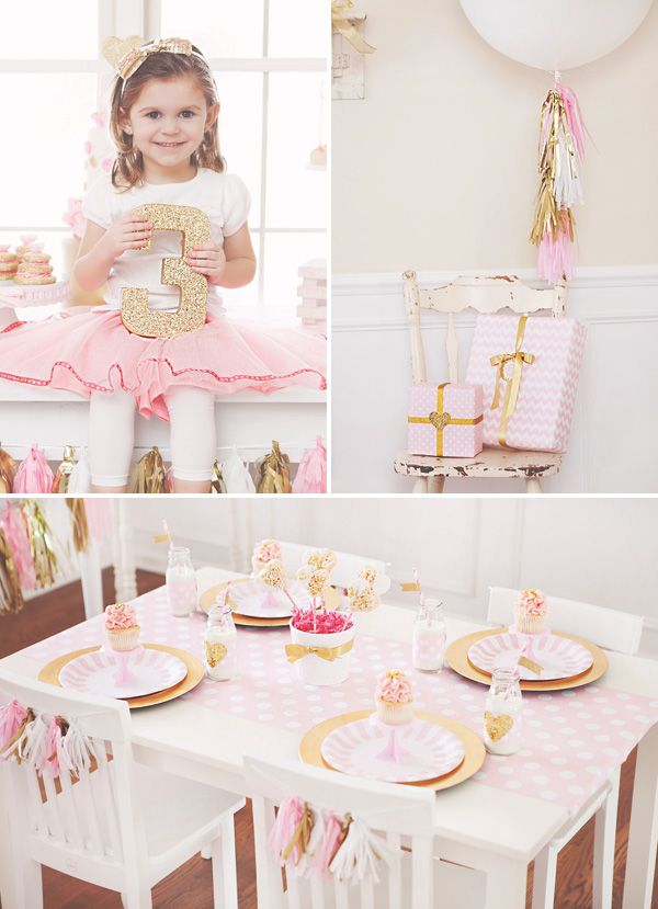 Sparkly Pink & Gold 3rd Birthday Party. This is an amazing girly party idea full of soft, sparkly colors and beautiful DIY accents!
