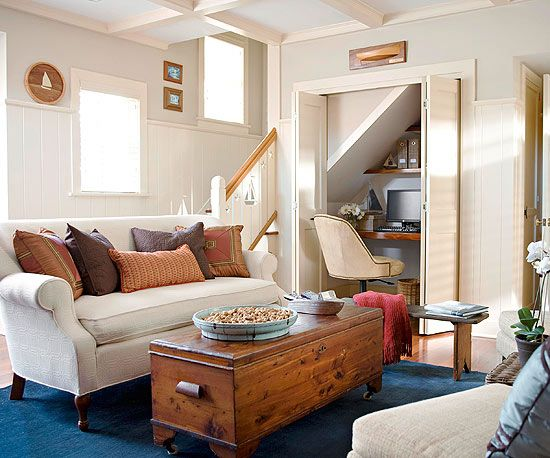 Your Home, Your Rules - make your space work for you. An awkward nook of the kitchen not large enough for a dining space, was turned into a cozy living space, the closet into a home office.