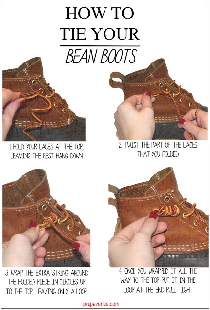 How to tie your Bean Boots - because us Mainahs wear them like slippers. Easy on and off :) http://www.visitmaine.net