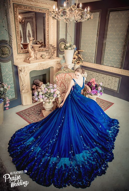 This stunning starry night blue gown from No.9 Wedding featuring glamourous details is taking our breath away!