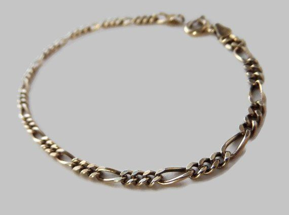 Sterling Silver Fancy Curb Link Bracelet With Gold Vermeil Vintage Gold Wash 925 Chain Bracelet Made In Italy 7 25 Inch 3mm With Images Link Bracelets Silver Bracelet Making