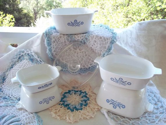 Vintage Corningware Blue Corn Flower Cook Ware by CjsCollection, $28.95