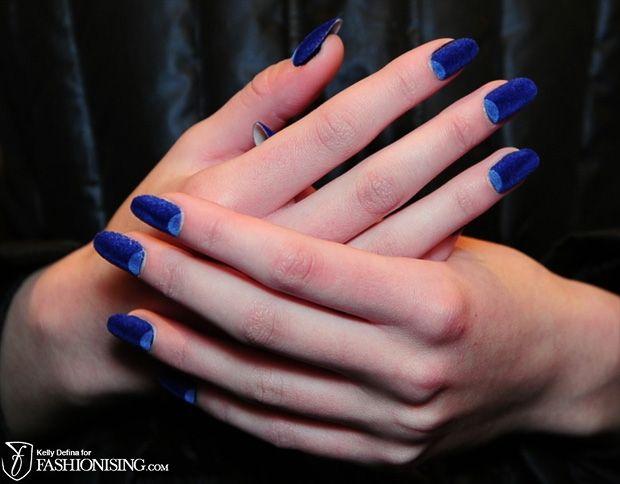 Velvet nails: crescent moon