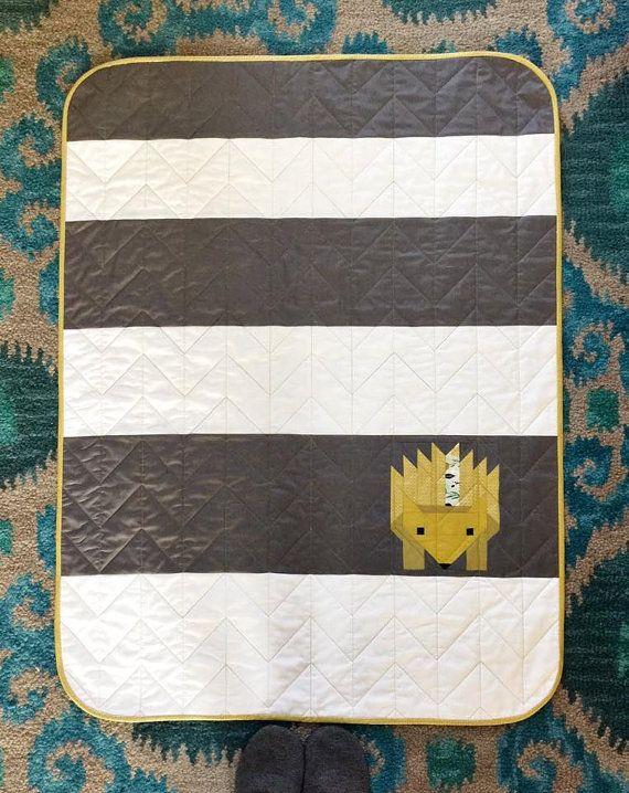 Hazel the Hedgehog Quilt Kit Cotton Steel Solids by ModernQuilter  Simplified baby hedgehog quilt