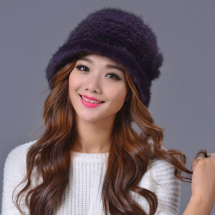 Women Genuine Farm Mink Fur Bailey Hats Caps Flower Winter Flower Warm Ears