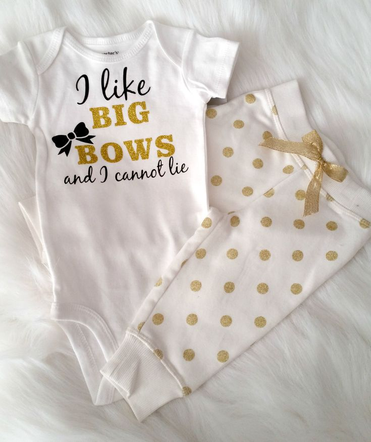 I Like Big Bows & I Can Not Lie Infant Gold Glitter Onesie