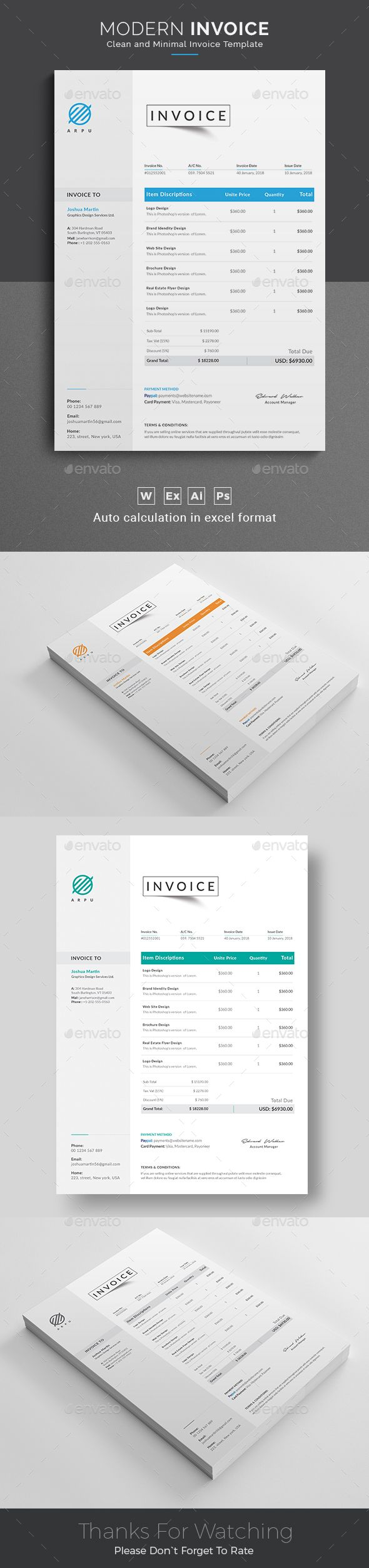Invoice This Invoice will help you in your business to save time, organize you product data and customers info and easily generate the invoice by inserting the costumers ID and Item. It is designed for personal and corporate use.