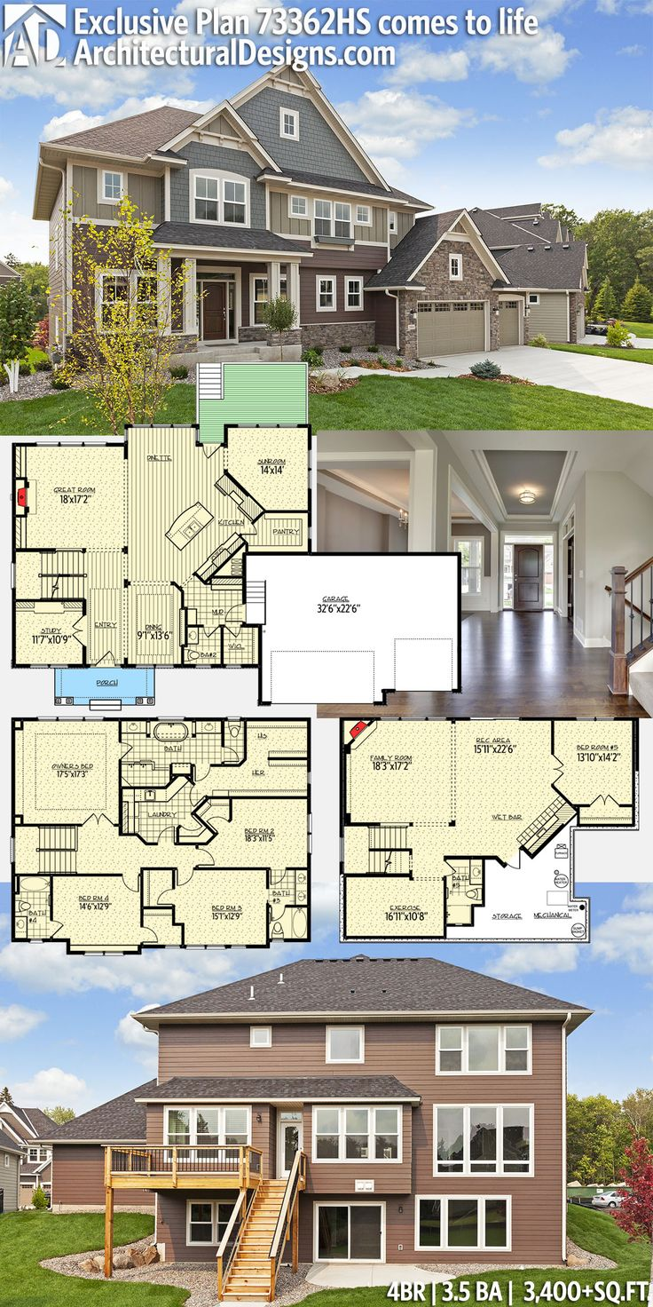 Architectural Designs Exclusive House Plan 73362HS gives you 4 beds, 3.5 baths and over 3,400+sq.ft. of heated living space. Plus an optional fiished lower level. And tons of photos. Love exterior paint colors - nice floorpan