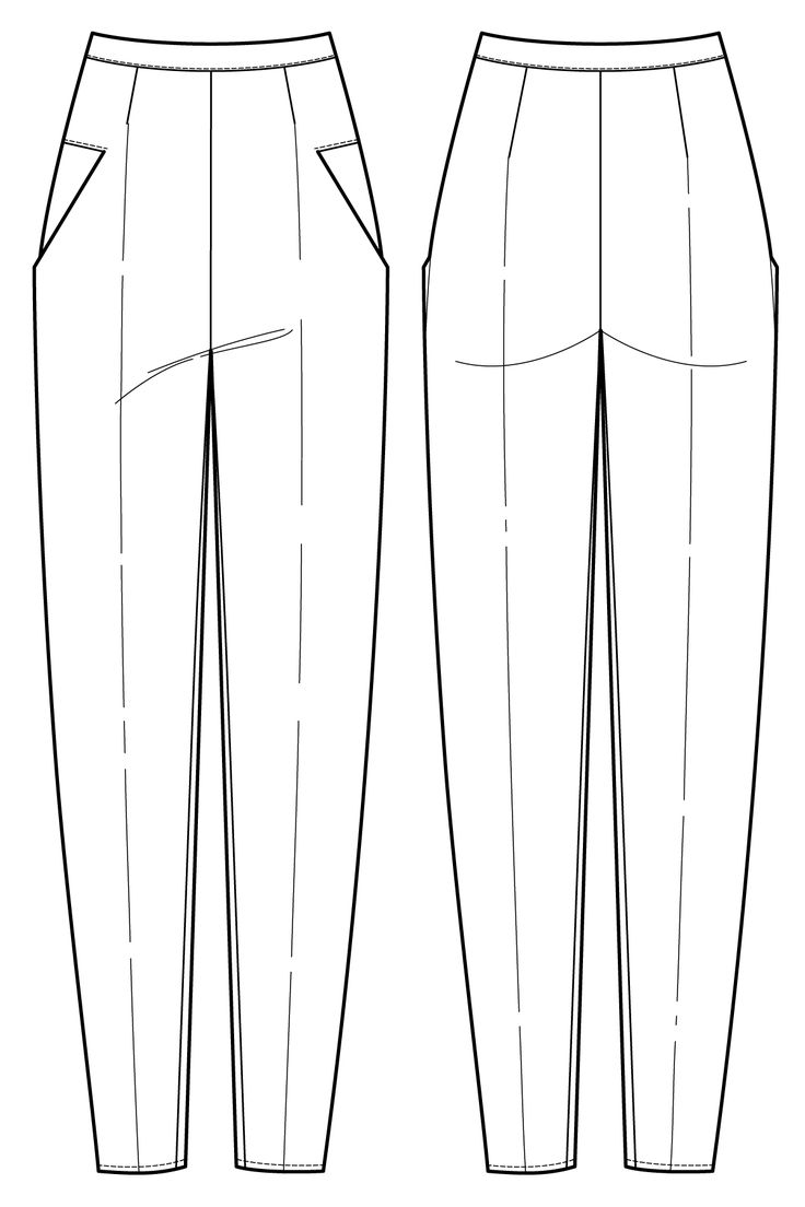 Long, tapered, 1920's inspired trousers flat drawing by Ralph Pink