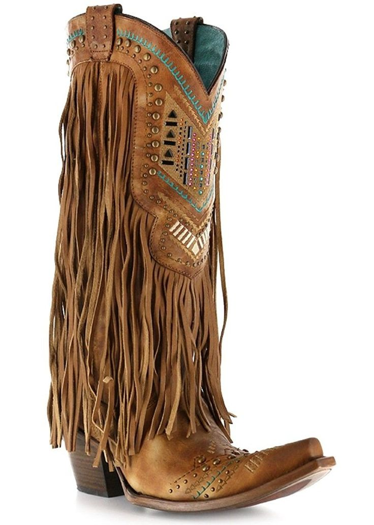 Corral Boot Company Womens Tan Multi Color Crystal Fringe Cowgirl Boots -- Check out this great image  : Cowgirl boots