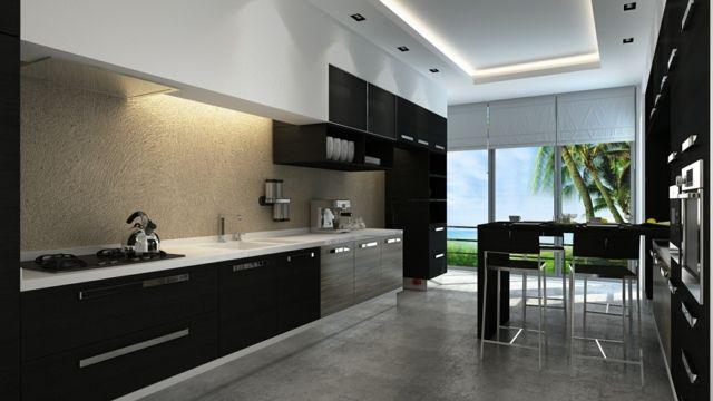 spritzschutz wand k che beton optik schwarze schr nke. Black Bedroom Furniture Sets. Home Design Ideas