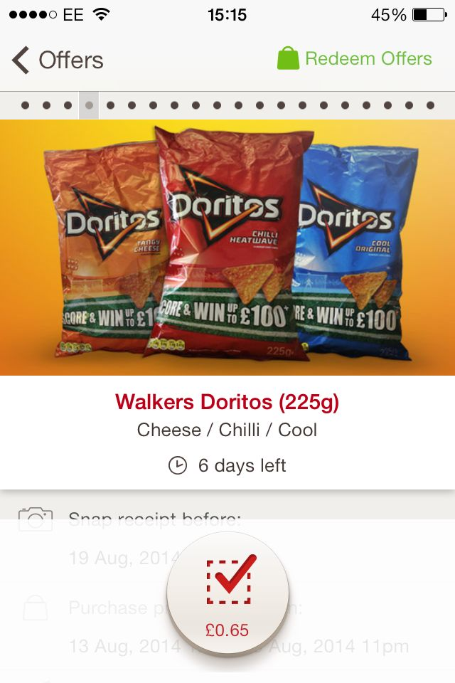 65p off Doritos crisps with cashback app Shopitize.