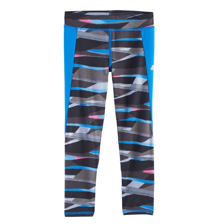 Girls 4-6x Adidas Climalite Striped Tights, Size: 6, Ovrfl Oth