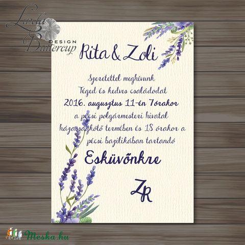 Levendula Esküvői meghívó, Vintage meghívó, Levendula lila, Esküvői lap, lila virágos lap, levendula meghívó, Esküvő, Naptár, képeslap, album, Meghívó, ültetőkártya, köszönőajándék, Képeslap, levélpapír, Meska