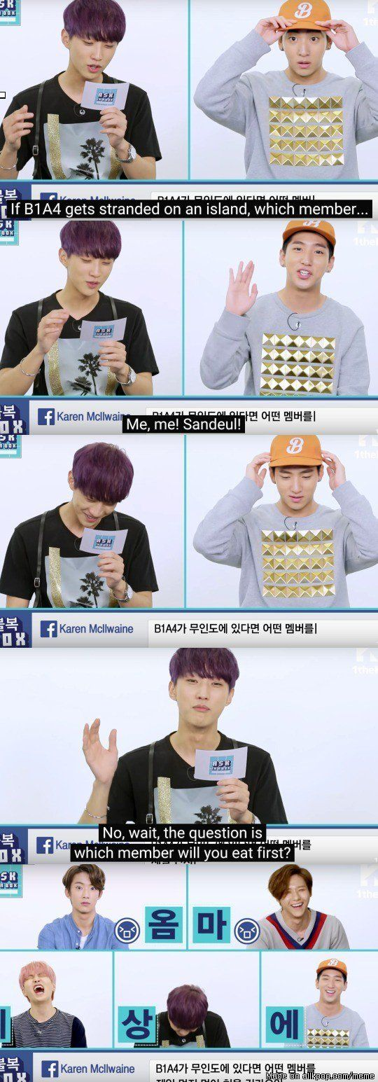 Jinyoung's laugh before he revealed the question, and look at their reactions xD | allkpop Meme Center