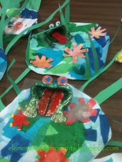 Art Moments: clay frog in Monet's garden/elementary art