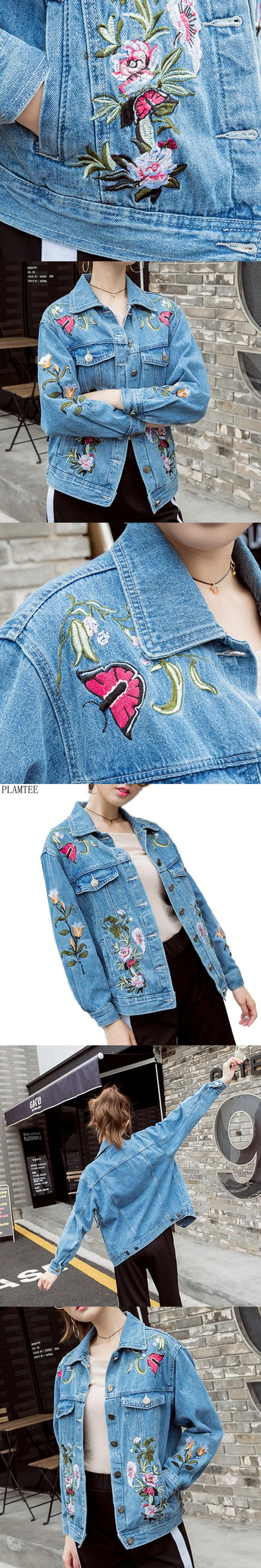 PLAMTEE Exquisite Floral Embroideried Jean Jacket Womens 2017 Casual Long Sleeve Abrigos Mujer Elegant Spring Female Bomber S~XL