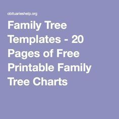 Multiple Family Tree Templates | ObituariesHelp.org