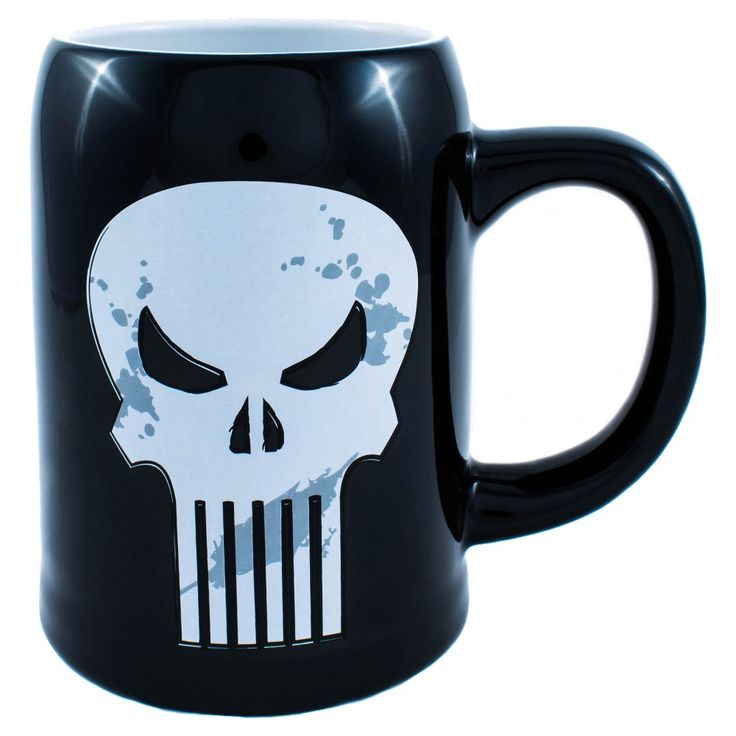 Marvel 22 Oz Stein Punisher Beer Mug Black Punisher