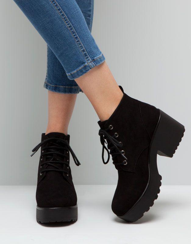 Pull&Bear - mujer - zapatos mujer - botín tacón acordonado - negro - 15265011-I2015