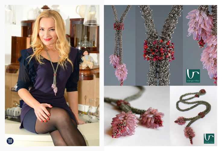 Long silver necklace with flower-shaped hangings and rosy petals  http://www.vargareka.com/
