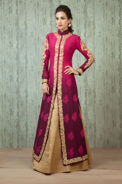 W16-51 - pure raw silk shaded jacket and lehenga embellished with zari and thread work