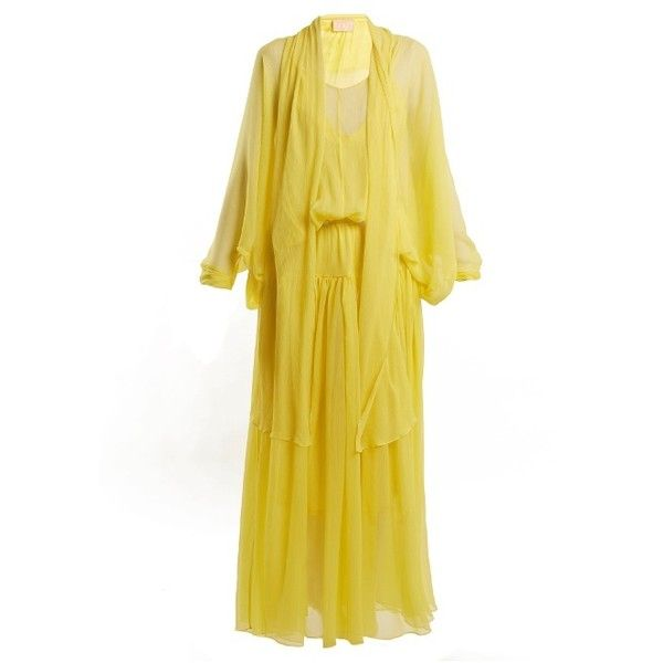 Albus Lumen Fontalina silk dress ($975) ❤ liked on Polyvore featuring dresses, yellow, long sleeve dress, long sleeve silk dress, v-neck dresses, v neck dress and yellow dress