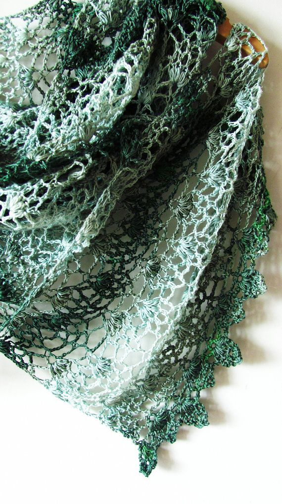 """This enigmatic shiny wrap with foliate edging will be a perfect evening accessory. Combination of pineapple lace and puffs creates rich textured fabric, that is soft and comfortable to wear. Pattern has written step-by-step instructions and chart. Finished size 36х150cm (14""""x60""""). Size is easy adjustable.    Materials needed:  •2 skeins of Fingering yarn, about 350 meters (380 yards) in 100 grams.  •3 mm hook  •Dressmaker pins  •Tapestry needle and scissors    Gauge: 21 sts and 11 rows =..."""